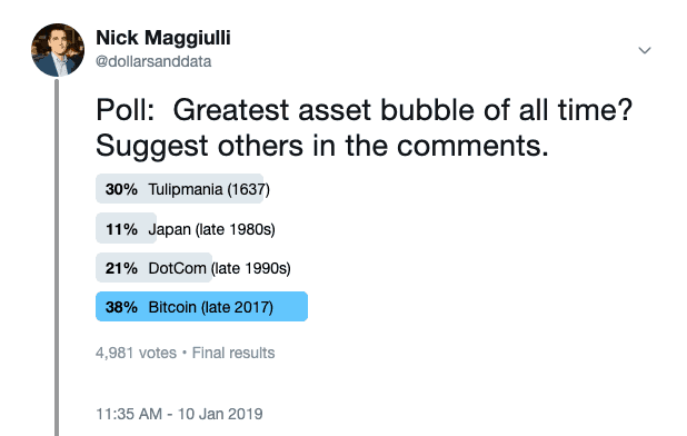 January 2019 poll asking which asset bubble is the greatest of all time with Bitcoin shown as the winner