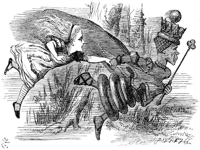 alice in wonderland chasing the red queen